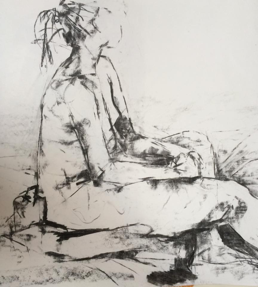 Seated Figure (15 mins), Charcoal on Paper